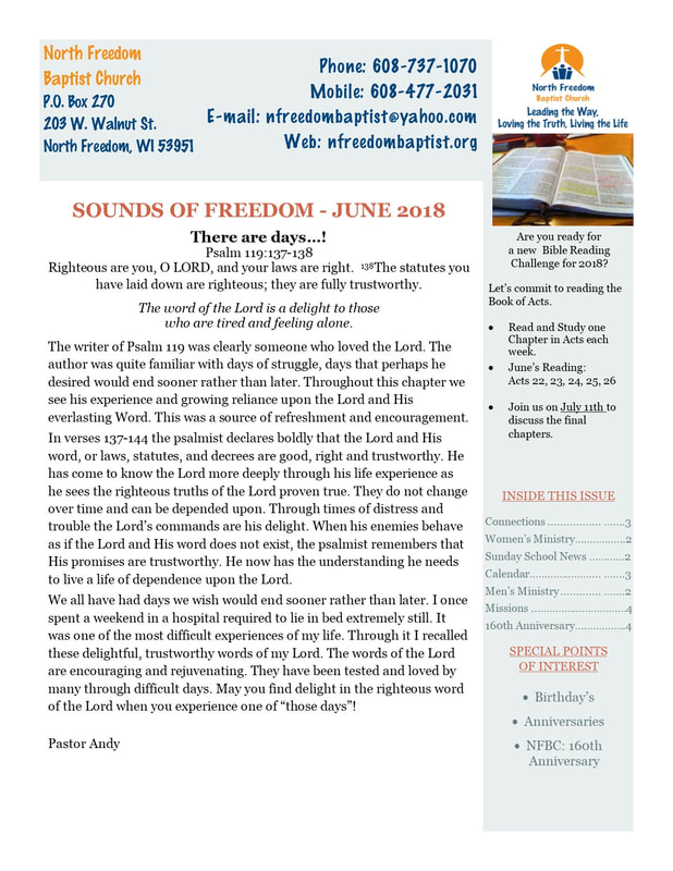 Category: Newsletter - North Freedom Baptist Church